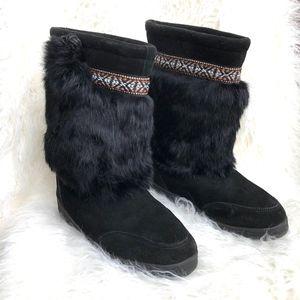 Minnetonka Moccasins Black Suede/ Rabbit Fur Boots